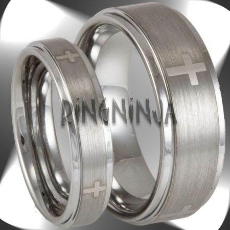 His and Her Christian Cross Tungsten Ring Set Mens Womens Matching